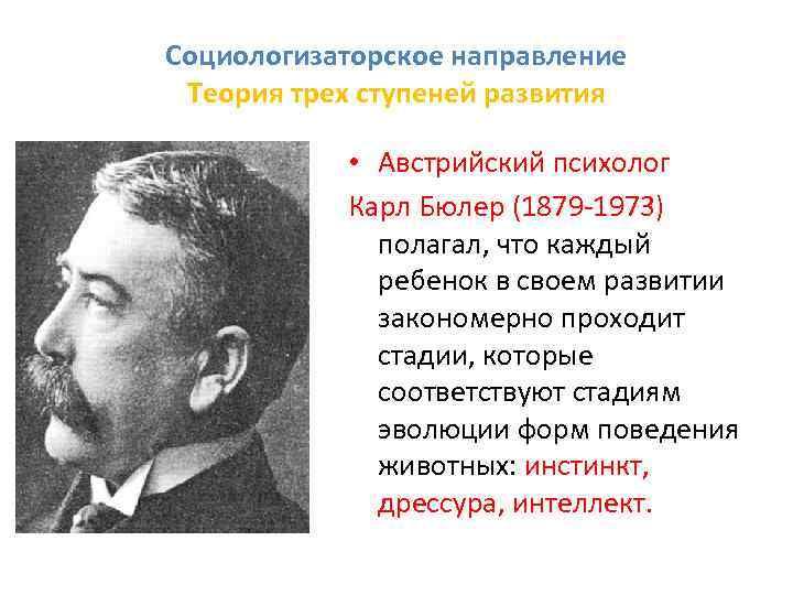 Социологизаторское направление Теория трех ступеней развития • Австрийский психолог Карл Бюлер (1879 1973) полагал,