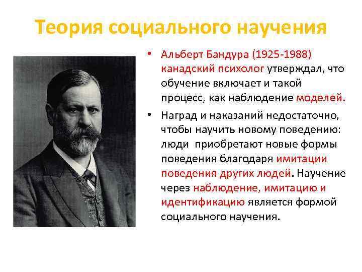 Теория социального научения • Альберт Бандура (1925 1988) канадский психолог утверждал, что обучение включает