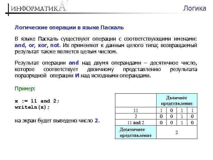Логика Логические операции в языке Паскаль В языке Паскаль существуют операции с соответствующими именами: