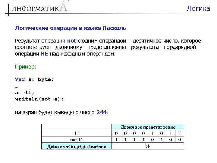 Логика Логические операции в языке Паскаль Результат операции not с одним операндом – десятичное