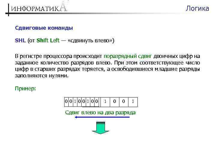 Логика Сдвиговые команды SHL (от Shift Left — «сдвинуть влево» ) В регистре процессора