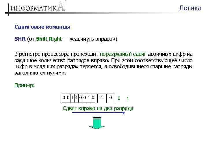 Логика Сдвиговые команды SHR (от Shift Right — «сдвинуть вправо» ) В регистре процессора