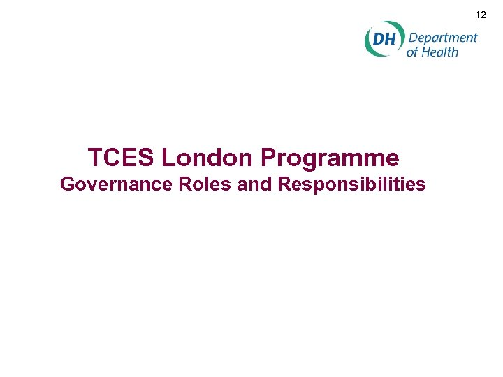 12 TCES London Programme Governance Roles and Responsibilities