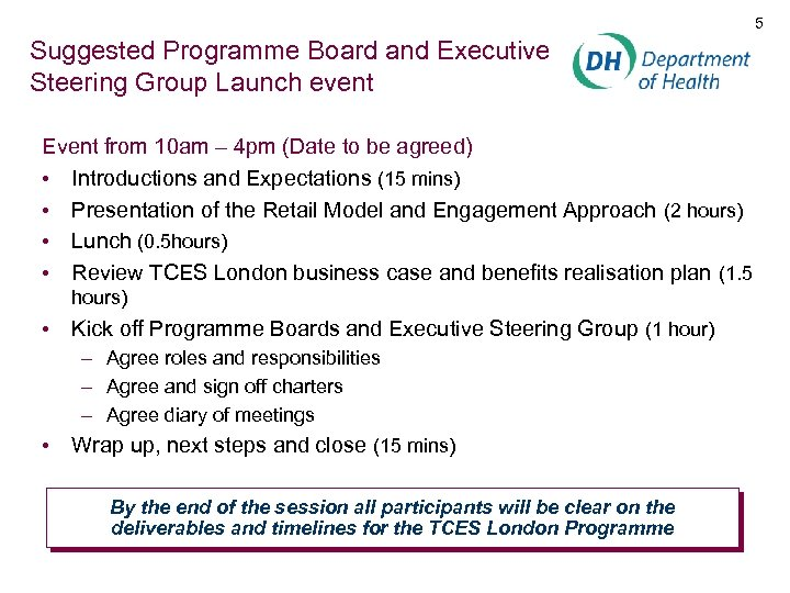 5 Suggested Programme Board and Executive Steering Group Launch event Event from 10 am