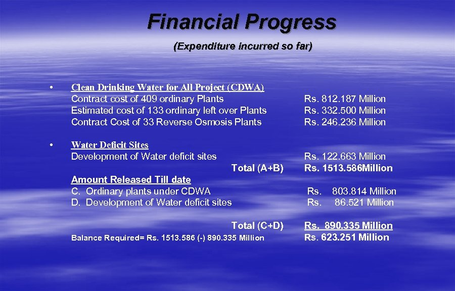 Financial Progress (Expenditure incurred so far) • • Clean Drinking Water for All Project