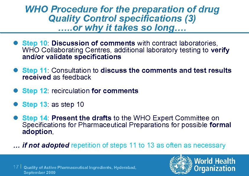 WHO Procedure for the preparation of drug Quality Control specifications (3) …. . or