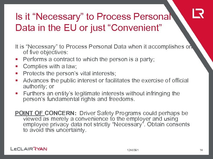 """Is it """"Necessary"""" to Process Personal Data in the EU or just """"Convenient"""" It"""