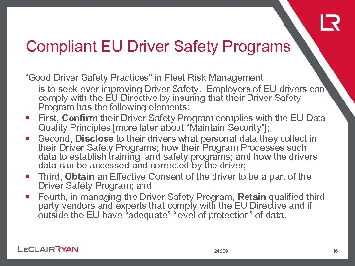 """Compliant EU Driver Safety Programs """"Good Driver Safety Practices"""" in Fleet Risk Management is"""