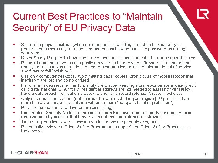 """Current Best Practices to """"Maintain Security"""" of EU Privacy Data § § § §"""