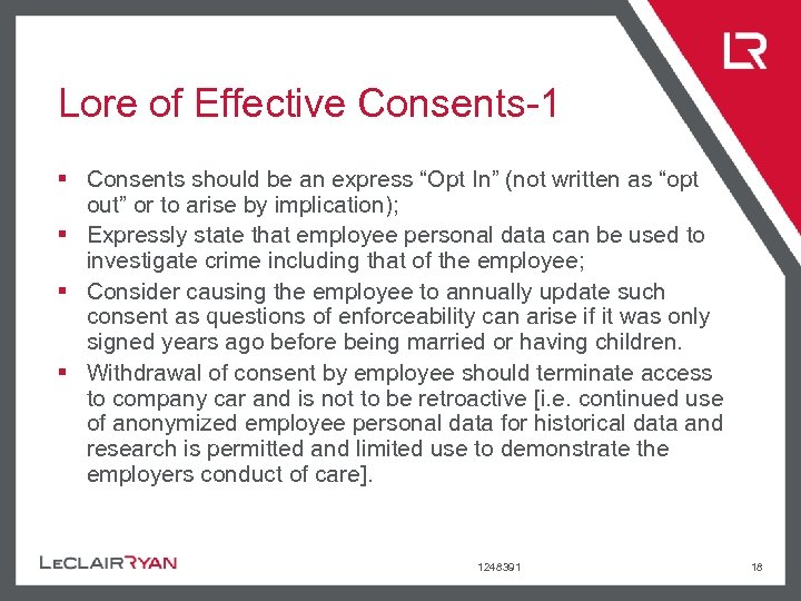 """Lore of Effective Consents-1 § Consents should be an express """"Opt In"""" (not written"""