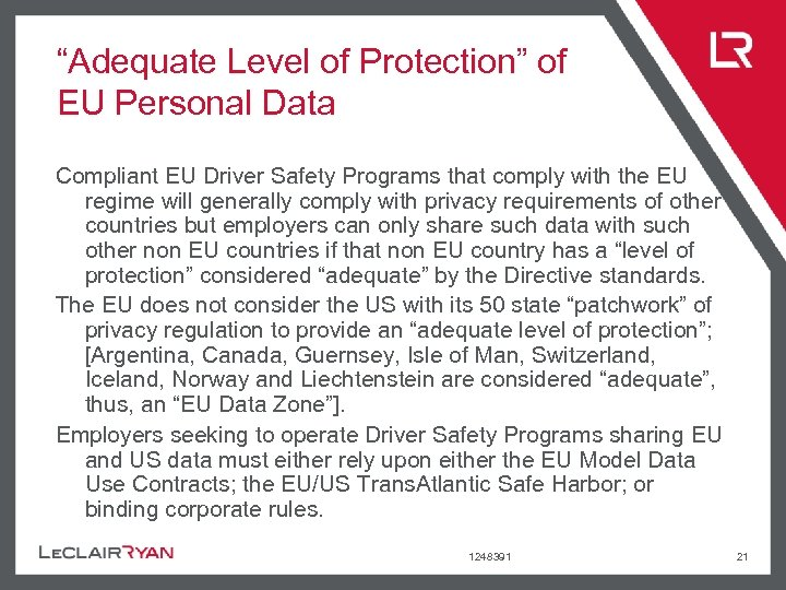 """""""Adequate Level of Protection"""" of EU Personal Data Compliant EU Driver Safety Programs that"""