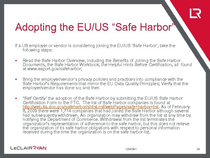 """Adopting the EU/US """"Safe Harbor"""" If a US employer or vendor is considering joining"""