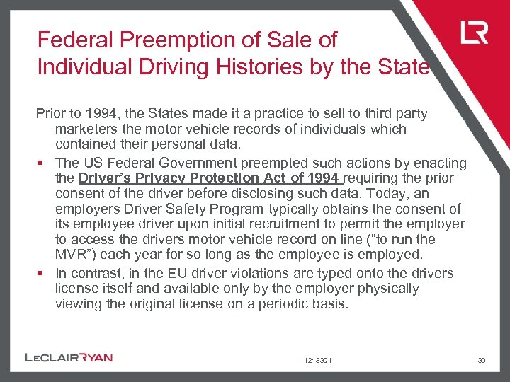Federal Preemption of Sale of Individual Driving Histories by the State Prior to 1994,