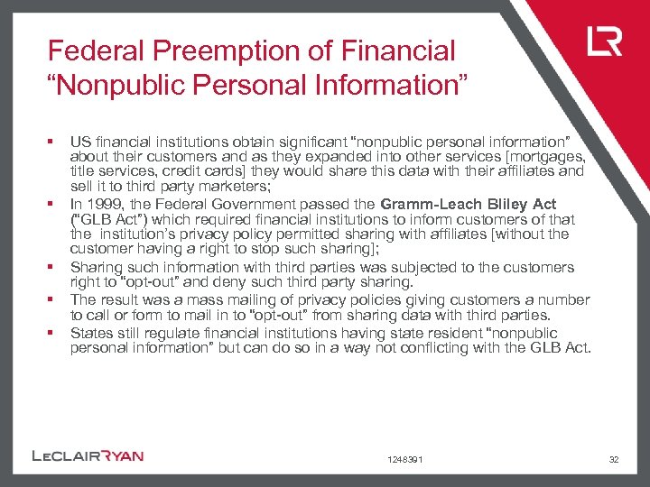 """Federal Preemption of Financial """"Nonpublic Personal Information"""" § § § US financial institutions obtain"""
