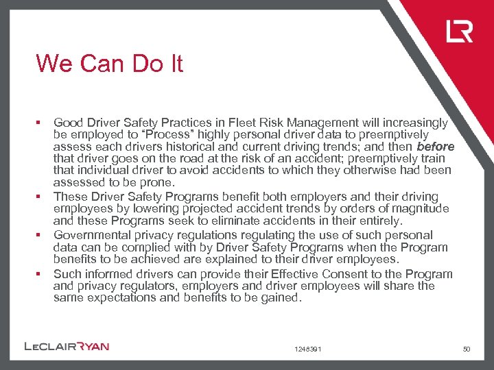We Can Do It § § Good Driver Safety Practices in Fleet Risk Management