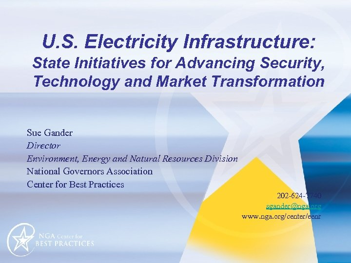 U. S. Electricity Infrastructure: State Initiatives for Advancing Security, Technology and Market Transformation Sue