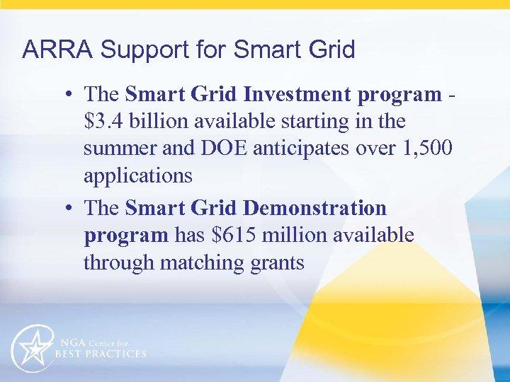 ARRA Support for Smart Grid • The Smart Grid Investment program $3. 4 billion