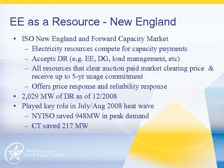 EE as a Resource - New England • ISO New England Forward Capacity Market