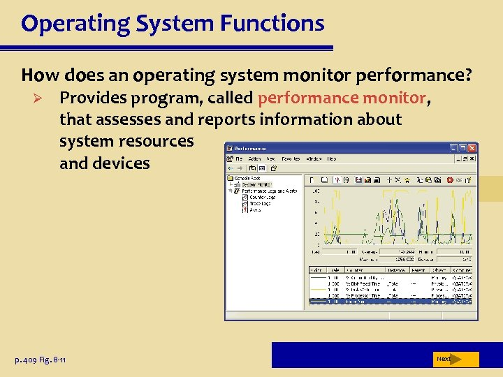 Operating System Functions How does an operating system monitor performance? Ø Provides program, called