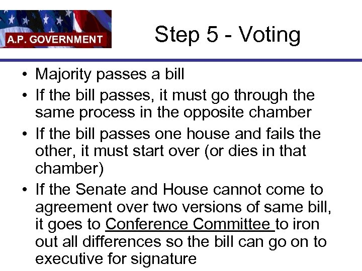 Step 5 - Voting • Majority passes a bill • If the bill passes,