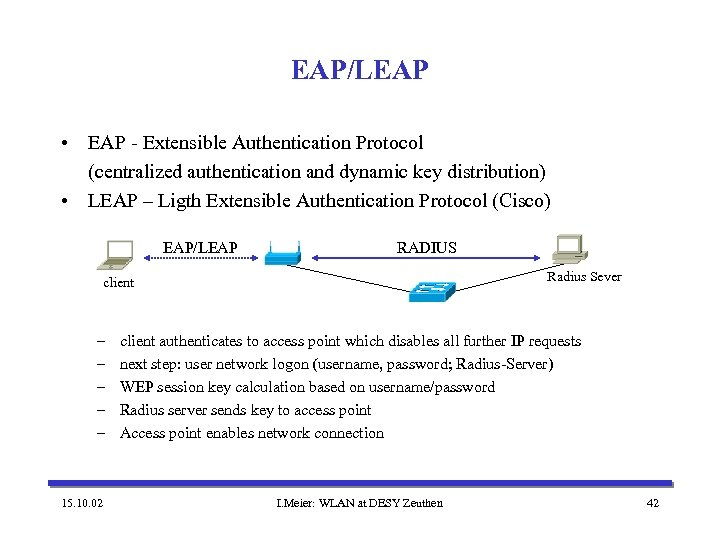 EAP/LEAP • EAP - Extensible Authentication Protocol (centralized authentication and dynamic key distribution) •