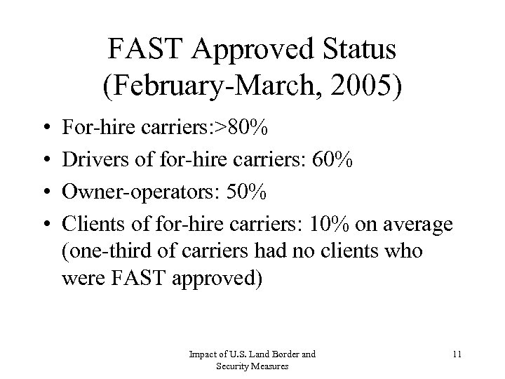 FAST Approved Status (February-March, 2005) • • For-hire carriers: >80% Drivers of for-hire carriers: