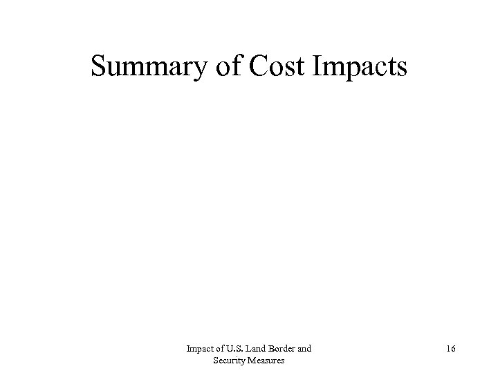 Summary of Cost Impacts Impact of U. S. Land Border and Security Measures 16