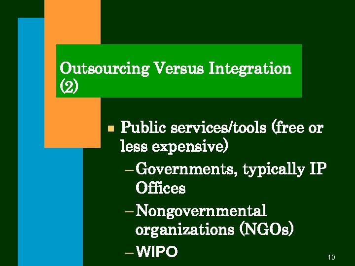 Outsourcing Versus Integration (2) n Public services/tools (free or less expensive) – Governments, typically