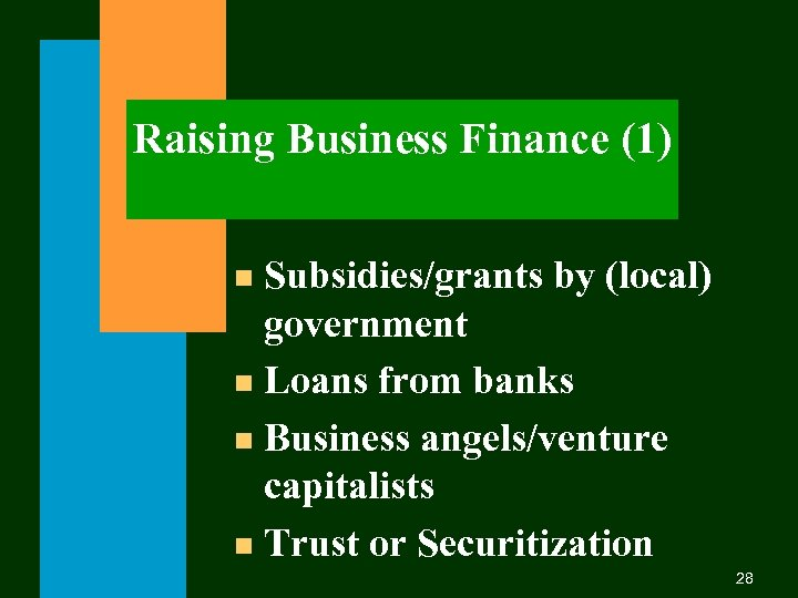 Raising Business Finance (1) Subsidies/grants by (local) government n Loans from banks n Business