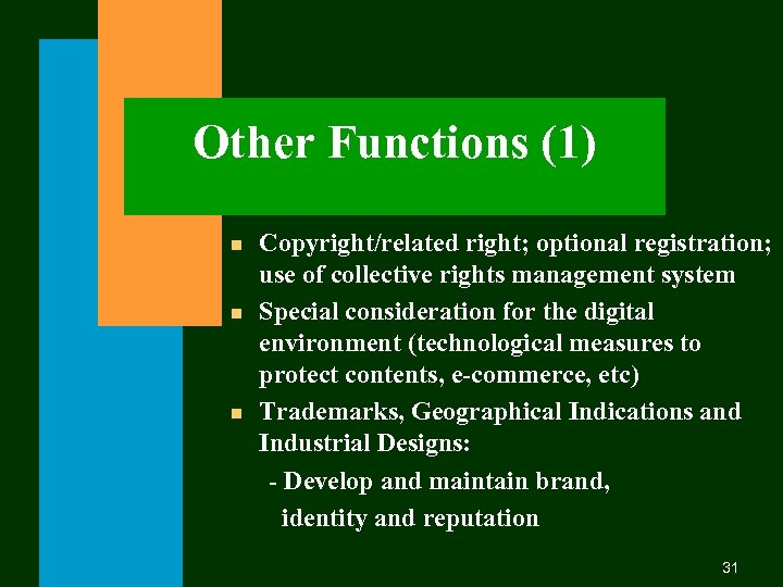 Other Functions (1) n n n Copyright/related right; optional registration; use of collective rights