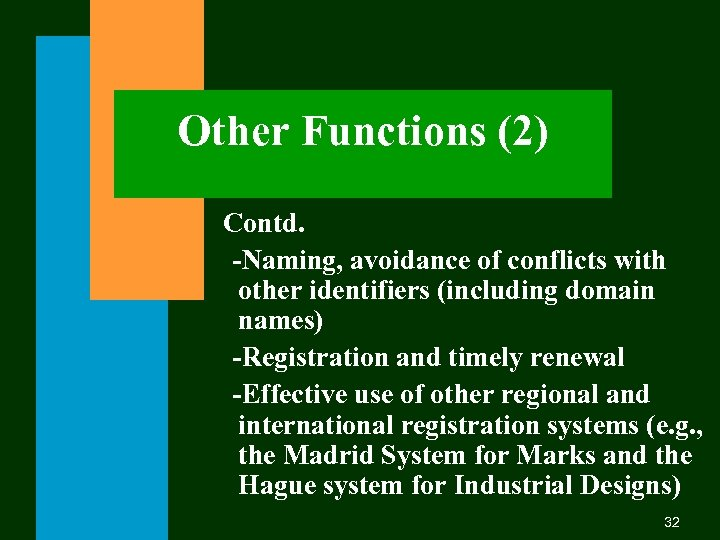Other Functions (2) Contd. -Naming, avoidance of conflicts with other identifiers (including domain names)