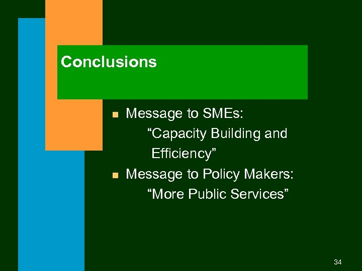"""Conclusions n n Message to SMEs: """"Capacity Building and Efficiency"""" Message to Policy Makers:"""