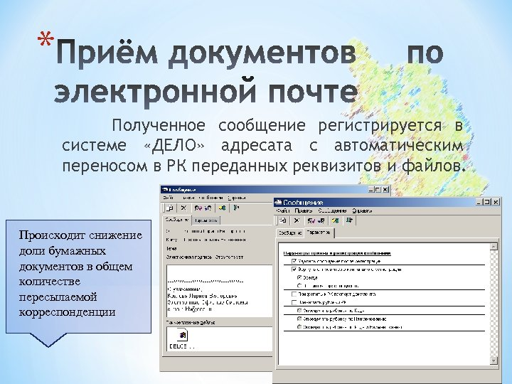 * Полученное сообщение регистрируется в системе «ДЕЛО» адресата с автоматическим переносом в РК переданных