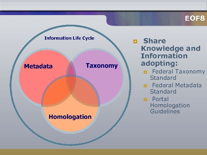 EOF 8 ¥ Share Knowledge and Information adopting: ¥ ¥ ¥ Federal Taxonomy Standard
