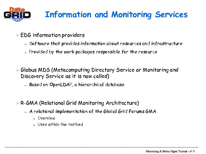 Information and Monitoring Services Ø EDG information providers n n Ø Software that provides