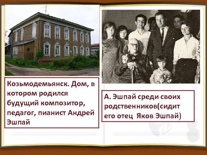 Козьмодемьянск. Дом, в котором родился будущий композитор, педагог, пианист Андрей Эшпай А. Эшпай среди