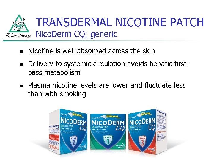 TRANSDERMAL NICOTINE PATCH Nico. Derm CQ; generic n n n Nicotine is well absorbed