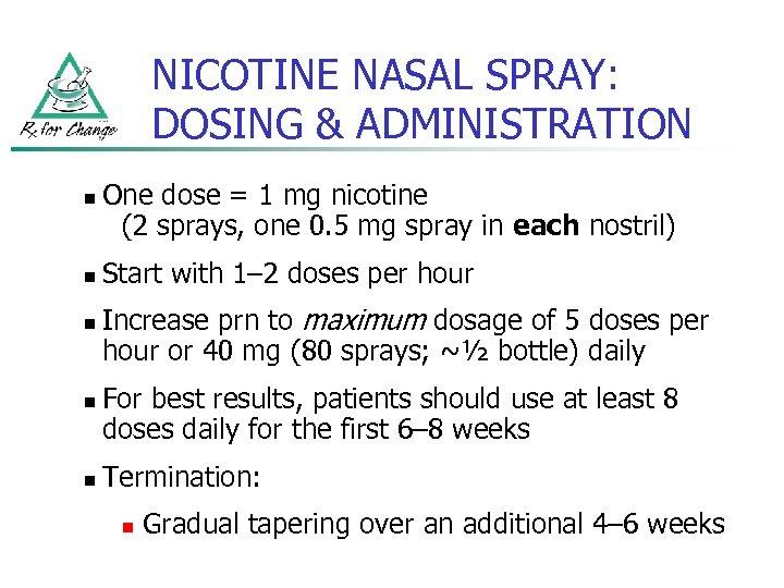 NICOTINE NASAL SPRAY: DOSING & ADMINISTRATION n n n One dose = 1 mg