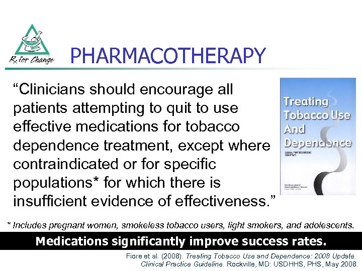 """PHARMACOTHERAPY """"Clinicians should encourage all patients attempting to quit to use effective medications for"""