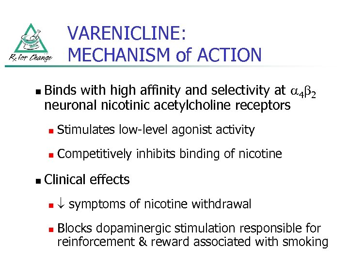VARENICLINE: MECHANISM of ACTION n Binds with high affinity and selectivity at 4 2