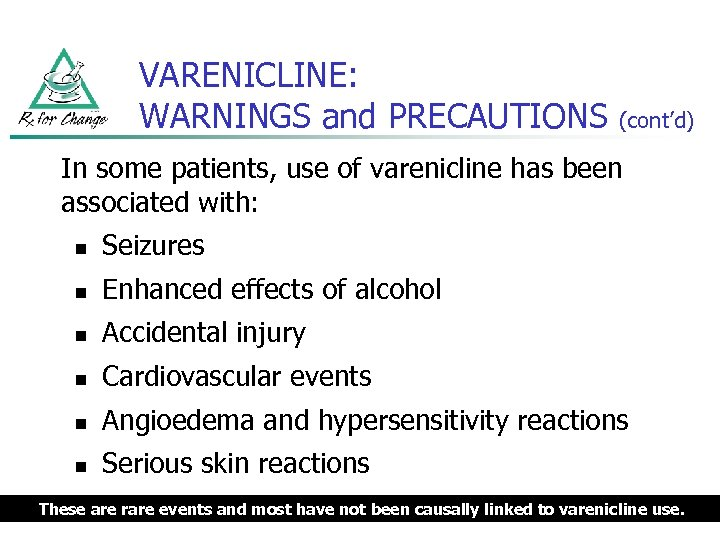 VARENICLINE: WARNINGS and PRECAUTIONS (cont'd) In some patients, use of varenicline has been associated