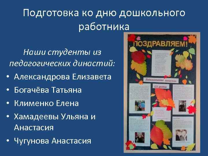 Подготовка ко дню дошкольного работника Наши студенты из педагогических династий: • Александрова Елизавета •