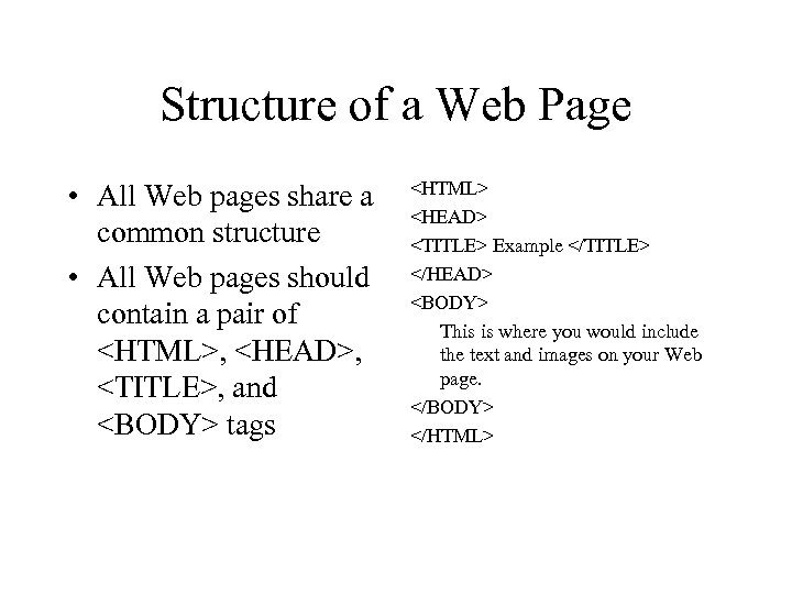 Structure of a Web Page • All Web pages share a common structure •