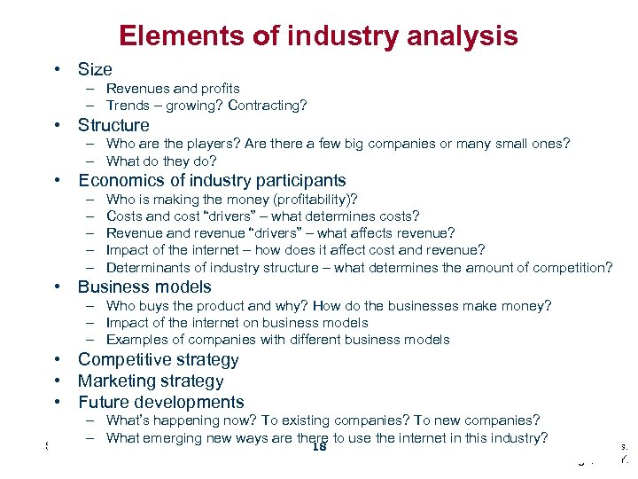 Elements of industry analysis • Size – Revenues and profits – Trends – growing?