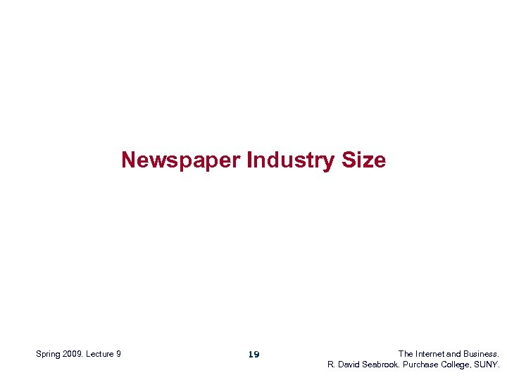 Newspaper Industry Size Spring 2009. Lecture 9 19 The Internet and Business. R. David