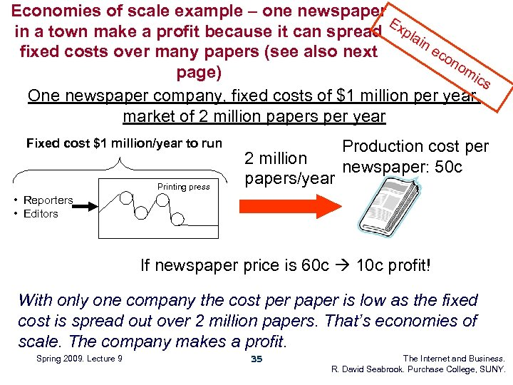 Economies of scale example – one newspaper E in a town make a profit