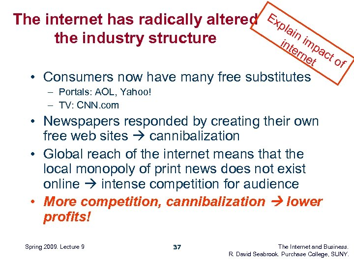 The internet has radically altered the industry structure Ex pla in int imp ern