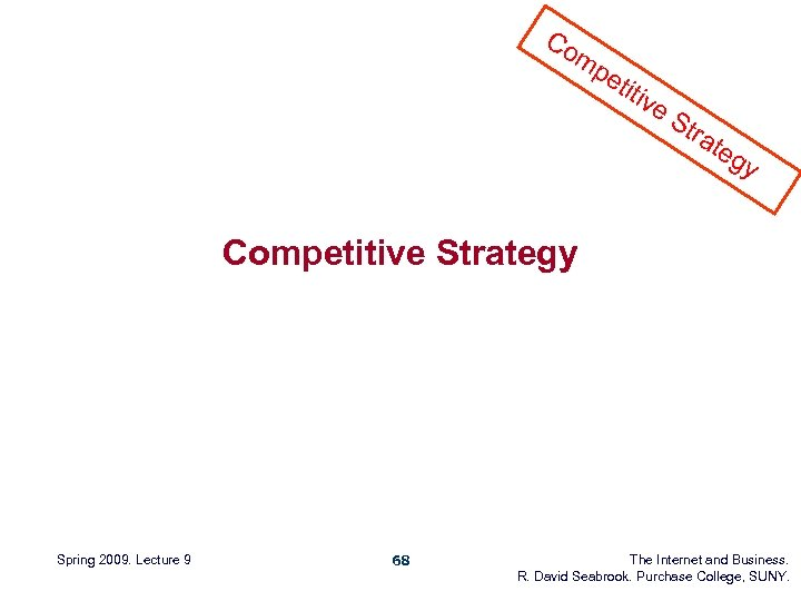 Co mp eti tiv e. S tra teg y Competitive Strategy Spring 2009. Lecture