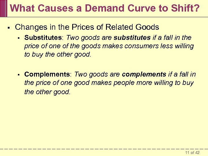 What Causes a Demand Curve to Shift? § Changes in the Prices of Related