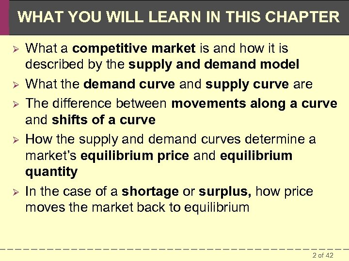 WHAT YOU WILL LEARN IN THIS CHAPTER Ø Ø Ø What a competitive market